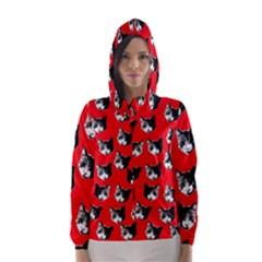 Cat Pattern Hooded Wind Breaker (women) by Valentinaart