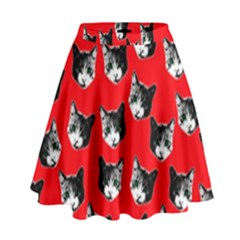 Cat Pattern High Waist Skirt by Valentinaart