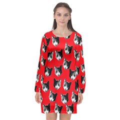 Cat Pattern Long Sleeve Chiffon Shift Dress  by Valentinaart