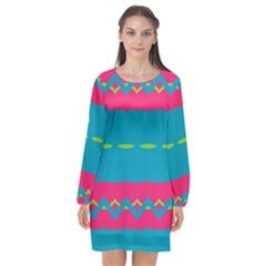 Blue Green Chains  Long Sleeve Chiffon Shift Dress by LalyLauraFLM
