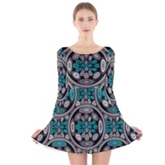 Geometric Arabesque Long Sleeve Velvet Skater Dress by linceazul