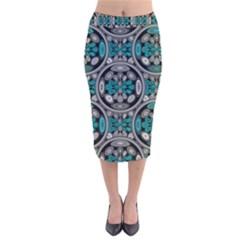 Geometric Arabesque Velvet Midi Pencil Skirt by linceazul