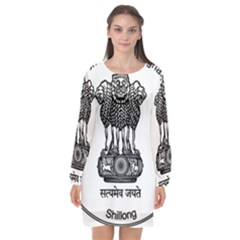 Seal Of Indian State Of Meghalaya Long Sleeve Chiffon Shift Dress  by abbeyz71