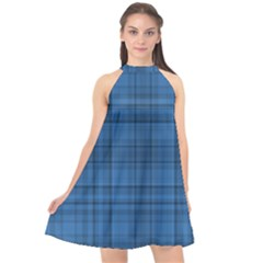 Plaid Design Halter Neckline Chiffon Dress