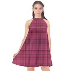 Plaid Design Halter Neckline Chiffon Dress  by Valentinaart
