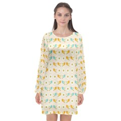 Birds And Daisies Long Sleeve Chiffon Shift Dress  by linceazul