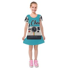 Say Cheese Kids  Short Sleeve Velvet Dress by Valentinaart
