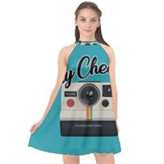 Say Cheese Halter Neckline Chiffon Dress  by Valentinaart
