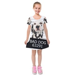 Bad Dog Kids  Short Sleeve Velvet Dress by Valentinaart