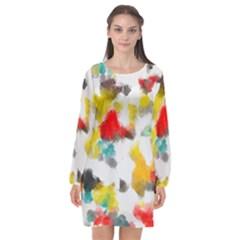 Colorful Paint Stokes     Long Sleeve Chiffon Shift Dress by LalyLauraFLM
