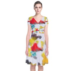 Colorful Paint Stokes      Short Sleeve Front Wrap Dress by LalyLauraFLM