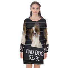Bad Dog Long Sleeve Chiffon Shift Dress  by Valentinaart