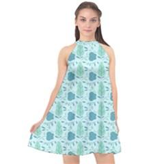 Seamless Floral Background  Halter Neckline Chiffon Dress