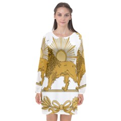 Lion & Sun Emblem Of Persia (iran) Long Sleeve Chiffon Shift Dress  by abbeyz71