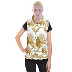 Lion & Sun Emblem Of Persia (iran) Women s Button Up Puffer Vest