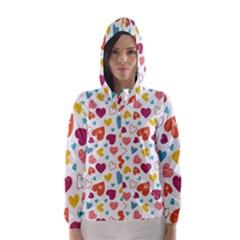 Colorful Bright Hearts Pattern Hooded Wind Breaker (women)