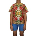 Vintage Retro Romantic Floral Kids  Short Sleeve Swimwear