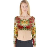Vintage Retro Romantic Floral Long Sleeve Crop Top