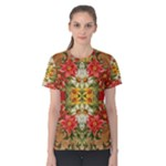 Vintage Retro Romantic Floral Women s Cotton Tee