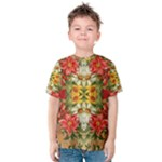Vintage Retro Romantic Floral Kids  Cotton Tee