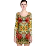 Vintage Retro Romantic Floral Long Sleeve Bodycon Dress