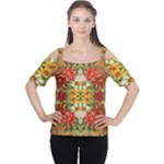 Vintage Retro Romantic Floral Women s Cutout Shoulder Tee