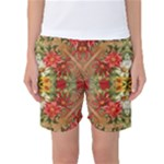 Vintage Retro Romantic Floral Women s Basketball Shorts