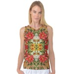 Vintage Retro Romantic Floral Women s Basketball Tank Top