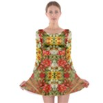Vintage Retro Romantic Floral Long Sleeve Skater Dress