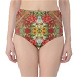 Vintage Retro Romantic Floral High-Waist Bikini Bottoms