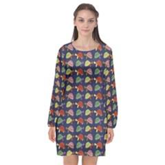Turtle Pattern Long Sleeve Chiffon Shift Dress  by Valentinaart