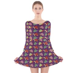 Turtle Pattern Long Sleeve Velvet Skater Dress by Valentinaart