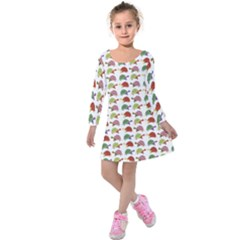 Turtle Pattern Kids  Long Sleeve Velvet Dress by Valentinaart