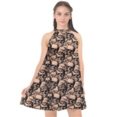Skulls Pattern  Halter Neckline Chiffon Dress  by Valentinaart