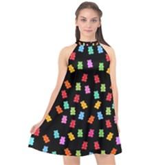 Candy Pattern Halter Neckline Chiffon Dress