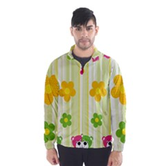 Animals Bear Flower Floral Line Red Green Pink Yellow Sunflower Star Wind Breaker (men) by Mariart