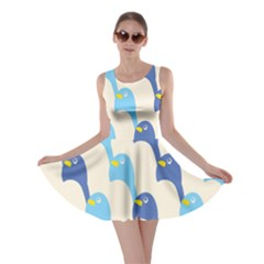 Animals Penguin Ice Blue White Cool Bird Skater Dress by Mariart