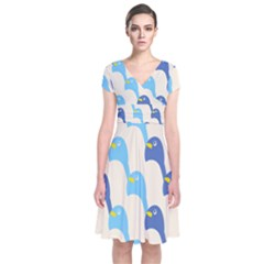 Animals Penguin Ice Blue White Cool Bird Short Sleeve Front Wrap Dress by Mariart