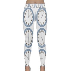 Alarm Clock Hour Circle Classic Yoga Leggings by Mariart
