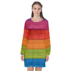 Wooden Plate Color Purple Red Orange Green Blue Long Sleeve Chiffon Shift Dress