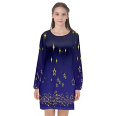 Blue Star Space Galaxy Light Night Long Sleeve Chiffon Shift Dress