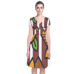 Chocolate Lime Brown Circle Line Plaid Polka Dot Orange Green White Short Sleeve Front Wrap Dress by Mariart
