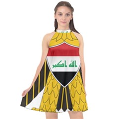Coat Of Arms Of Iraq  Halter Neckline Chiffon Dress