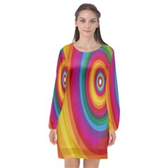 Circle Rainbow Color Hole Rasta Long Sleeve Chiffon Shift Dress  by Mariart