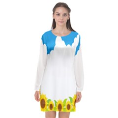 Cloud Blue Sky Sunflower Yellow Green White Long Sleeve Chiffon Shift Dress  by Mariart
