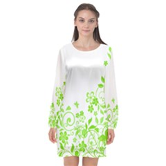 Butterfly Green Flower Floral Leaf Animals Long Sleeve Chiffon Shift Dress