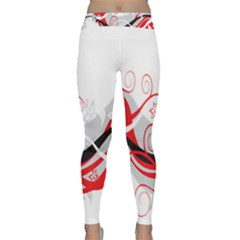 Flower Floral Star Red Wave Classic Yoga Leggings by Mariart