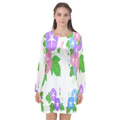 Flower Floral Star Purple Pink Blue Leaf Long Sleeve Chiffon Shift Dress  by Mariart