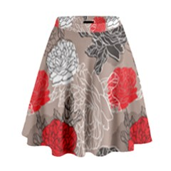Flower Rose Red Black White High Waist Skirt