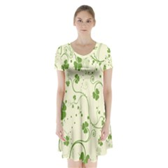 Flower Green Shamrock Short Sleeve V Neck Flare Dress by Mariart